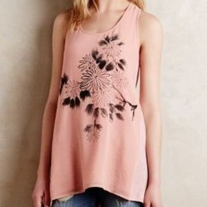 Anthropologie flowy print sleeveless tunic